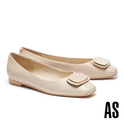 低跟鞋 AS 金屬風雙色橢圓方釦全真皮方頭低跟鞋-米