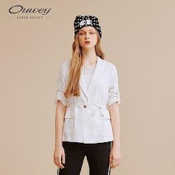OUWEY歐薇 亞麻混紡西裝外套(白/綠)