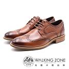 WALKING ZONE 英倫紳士 雕花綁帶男皮鞋-棕(另有黑)