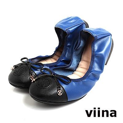 viina 黑頭拼接蝴蝶結摺疊鞋MIT-寶藍色