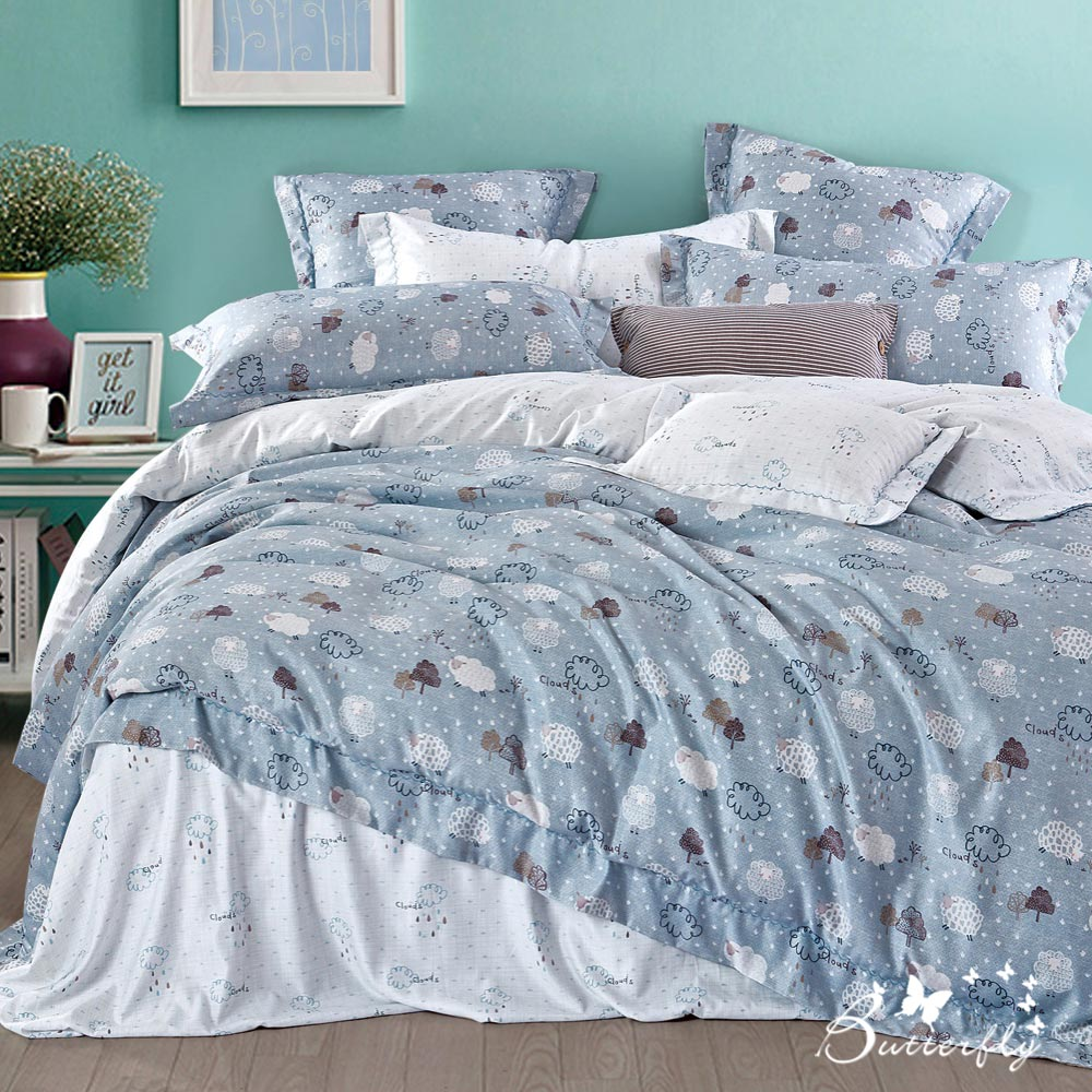 BUTTERFLY-3M專利+頂級天絲-雙人薄床包被套四件組-彩雲藍