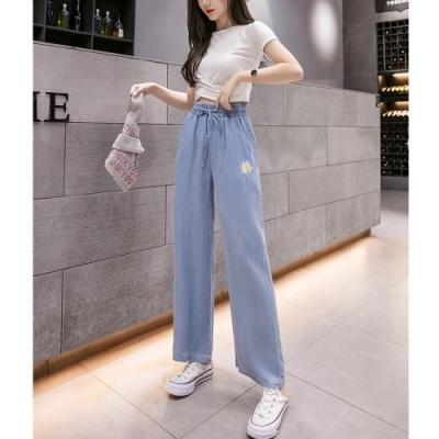 2F韓衣-簡約刺繡點綴天絲棉造型寬褲-藍-(S-2XL)