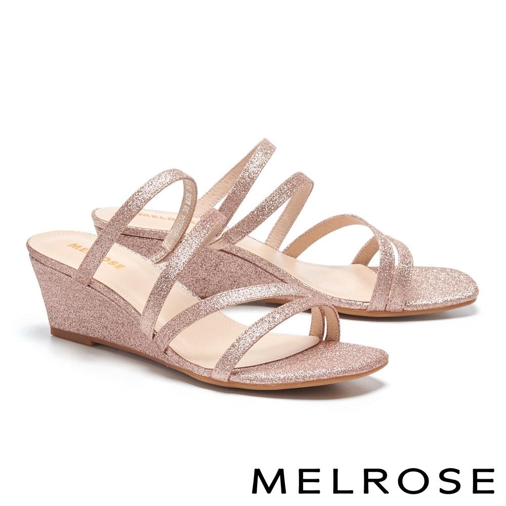 拖鞋 MELROSE 別致時尚金蔥繫帶楔型高跟拖鞋-粉
