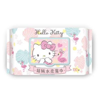 Sanrio 三麗鷗 Hello Kitty 凱蒂貓 超純水加蓋濕紙巾 100抽X8包/組