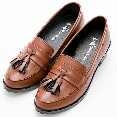 River&Moon英倫學院-復古流蘇牛津樂福鞋-棕