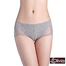 Olivia 雙色蕾絲棉質中腰防漏生理褲-淺灰