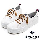 SPERRY 奢華經典厚底帆布休閒鞋(女)-白
