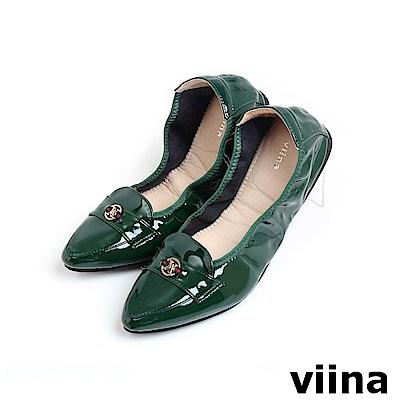 viina 尖頭織帶小LOGO摺疊鞋MIT-墨綠