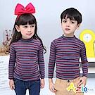 Azio Kids 上衣 磨毛條紋長袖保暖衣(藍底紅條)