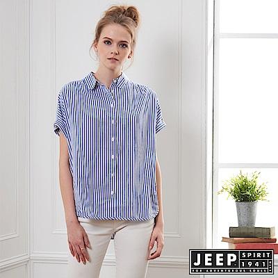JEEP 女裝 休閒條紋短袖襯衫-藍色