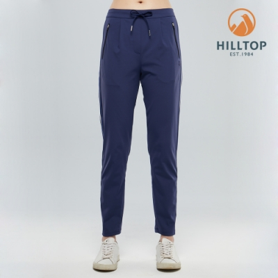 【hilltop山頂鳥】女款吸濕快乾Polygiene抗菌彈性長褲S07FI7深藍