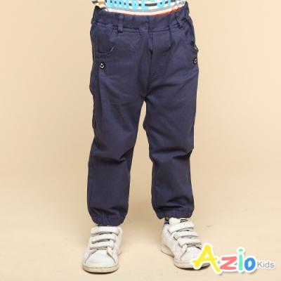 Azio Kids 男童 長褲 船錨鈕扣造型素色縮口休閒長褲(藍)