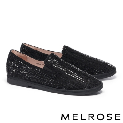 休閒鞋 MELROSE 魅力時尚晶鑽造型厚底休閒鞋-黑