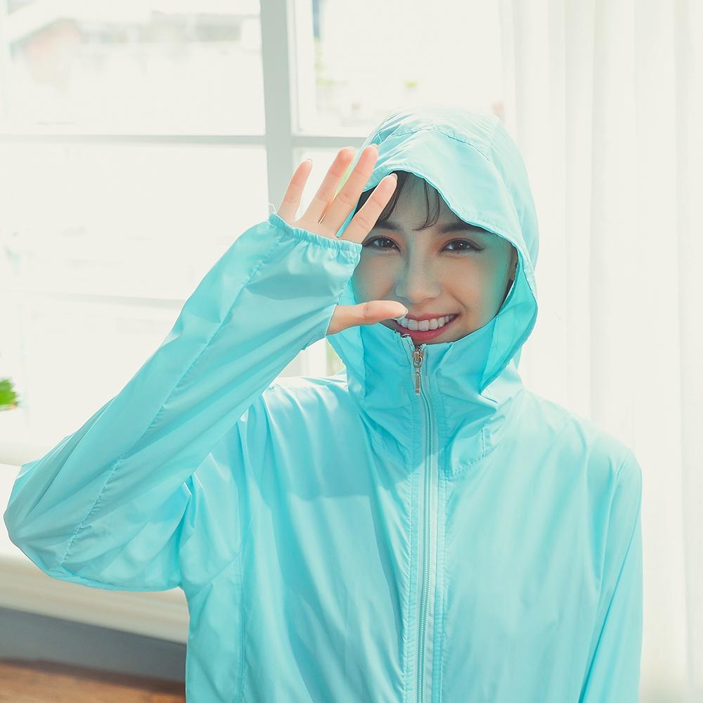 SUPER COLOR 輕薄連帽皮膚風衣防曬外套(水藍色)