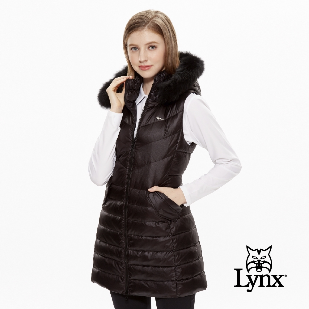 【Lynx Golf】女款可拆式毛條長版修身羽絨無袖背心-黑色