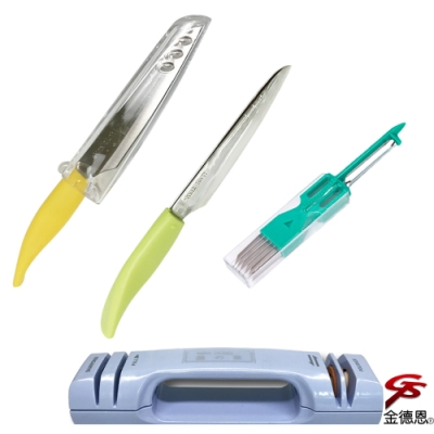 金德恩 尖形420不鏽鋼水果刀附刀殼1組2刀隨機色+雙效合一可掛式磨刀器+四合一廚房料理刀