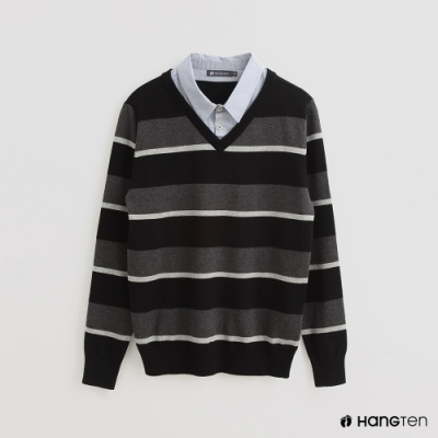 Hang Ten - 男裝 - 假兩件配色條紋長袖襯衫 - 黑