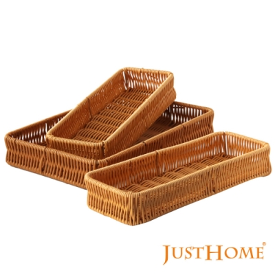 Just Home 清新和風PP仿籐長方形多功能收納餐具籃29+27cm(3件組)