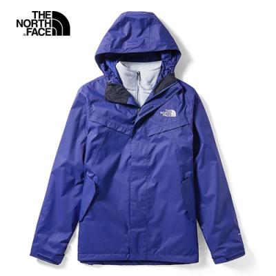The North Face北面男款藍色防水透氣戶外三合一外套 46JLL62