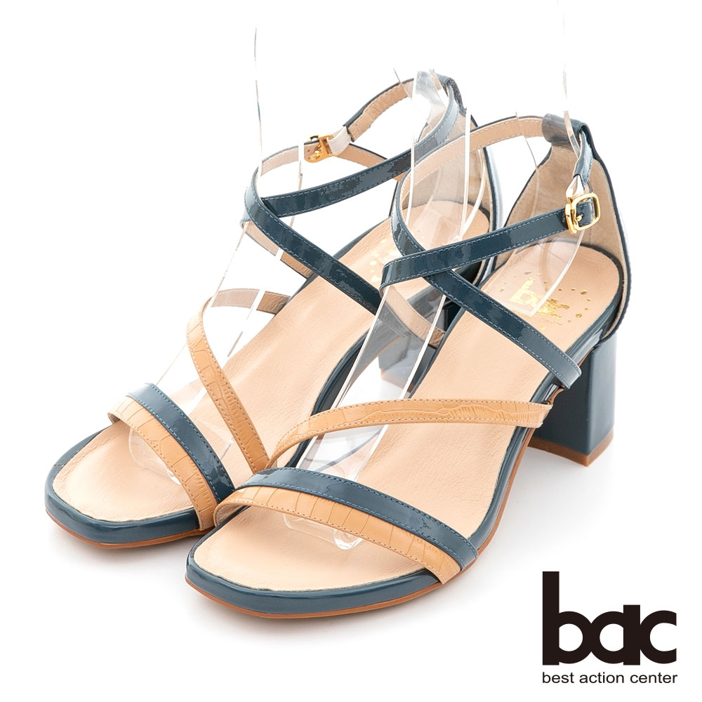 【bac】撞色不對襯線條粗跟涼鞋-灰藍