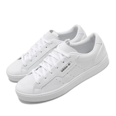 adidas 休閒鞋 Sleek W Vegan 低筒 女鞋 愛迪達 三葉草 基本款 皮革 上學 白 黑 FX7761