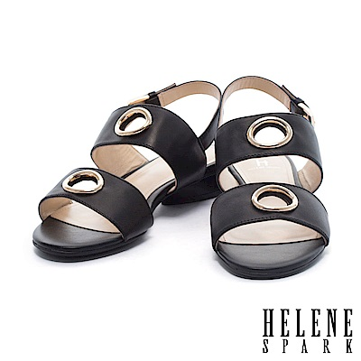 涼鞋 HELENE SPARK 簡約鏤空圓飾雙字帶繫帶羊皮低跟涼鞋-黑