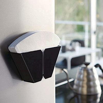 Homely Zakka 工藝美感磁吸式鐵製咖啡濾紙收納盒/收納架(墨黑)