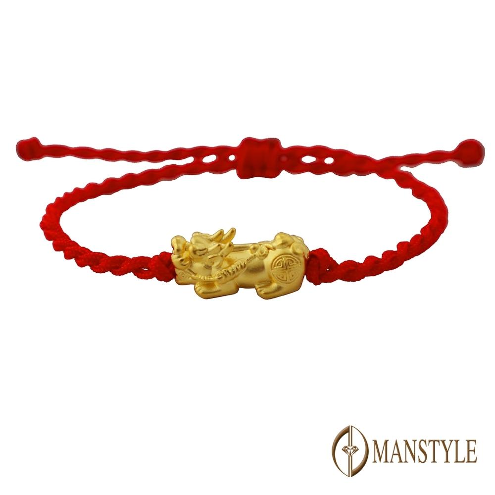 MANSTYLE 招財貔貅紅線 黃金手鍊 (約0.21錢)