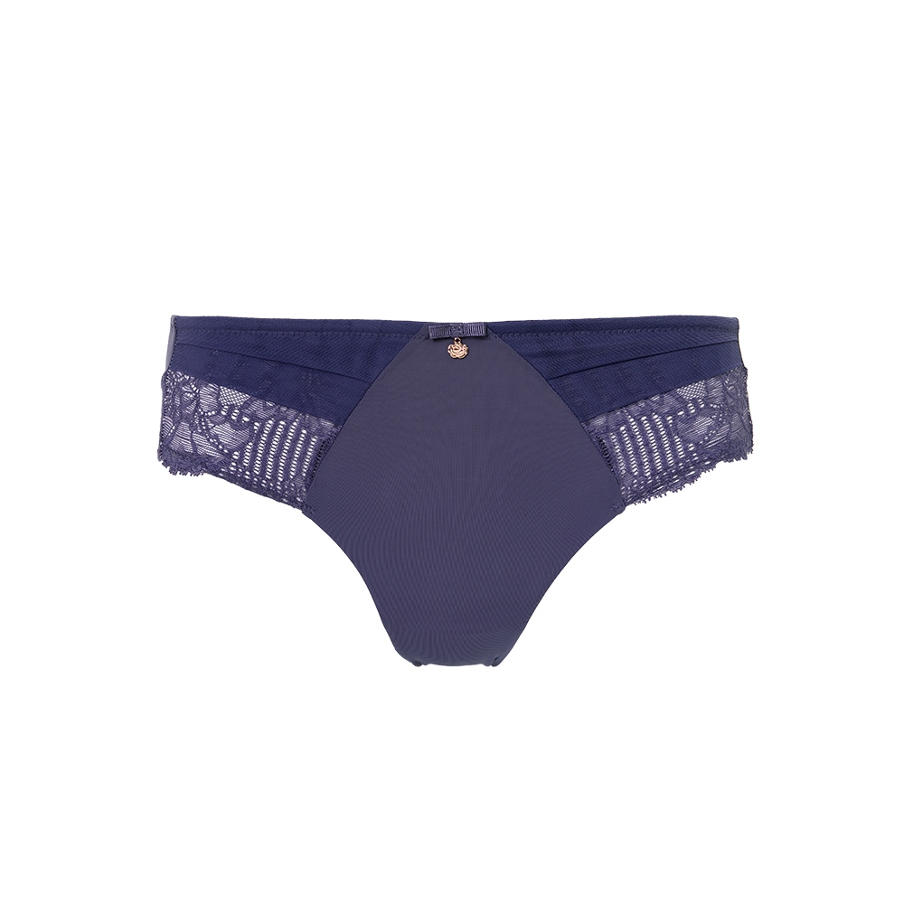 黛安芬-FLORALE熱艷麗菊系列 超細纖維蕾絲無痕中腰三角內褲 M-EEL 知性紫