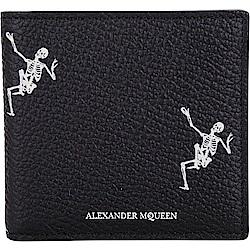 Alexander McQueen 跳舞骷髏頭牛皮八卡短夾(黑色)