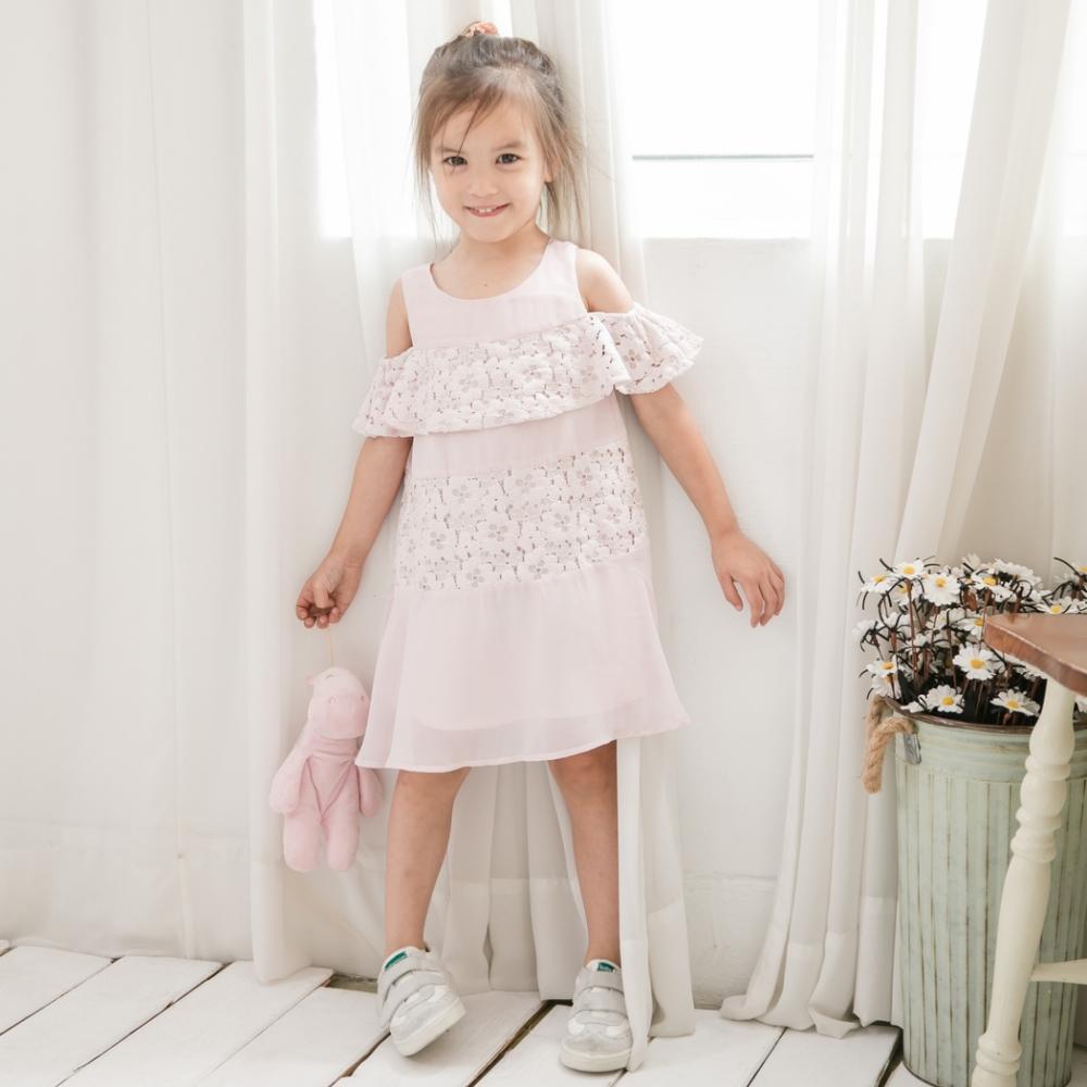 小雛菊 MARGUERITE 粉嫩櫻花波浪領小洋裝