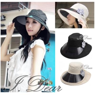 I.Dear-抗UV鏡片藍花朵女士遮陽帽(3色)