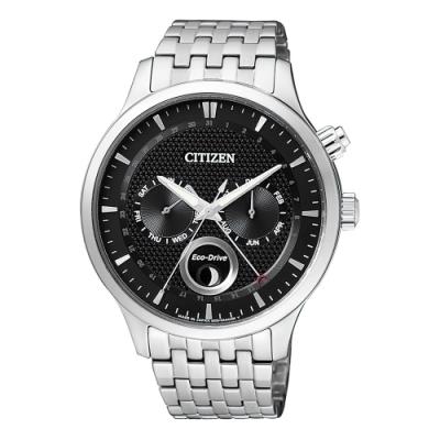 CITIZEN星辰Eco-Drive簡約月相鋼帶腕錶-黑色(AP1050-56E)