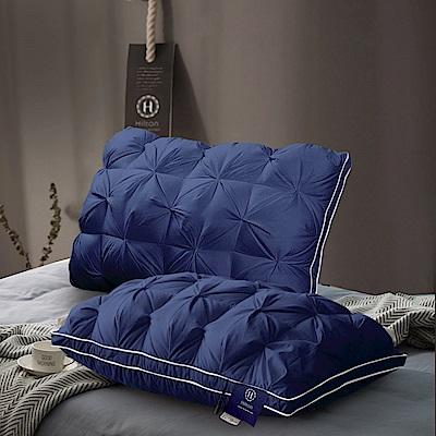 Hilton 希爾頓 五星級VIP 白鵝羽毛輕柔精梳棉立體枕/藍色 1入