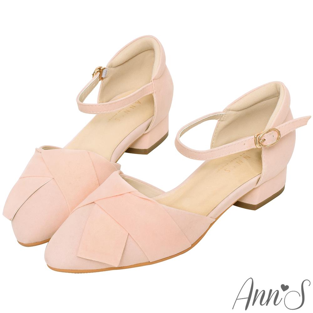 Ann'S優雅秘訣-造型方結繫帶低跟尖頭鞋-粉