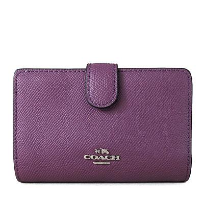 COACH 立體金馬車Logo素面防刮全皮革雙折式窗型中夾(紫莓色)