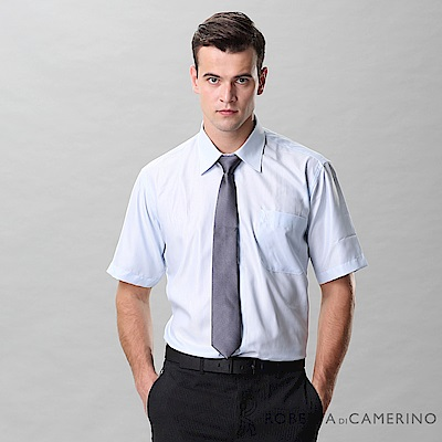 ROBERTA諾貝達 台灣製 免燙 商務都會 條紋短袖襯衫 藍色