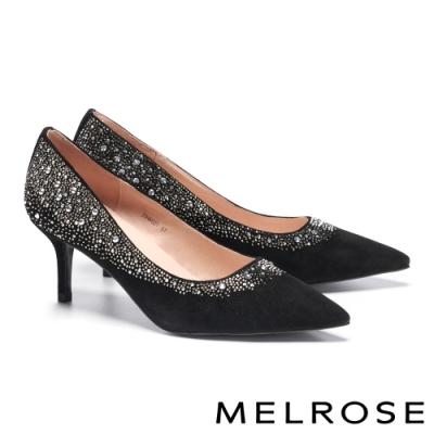 高跟鞋 MELROSE 優雅奢華漸層水鑽羊麂皮尖頭高跟鞋-黑