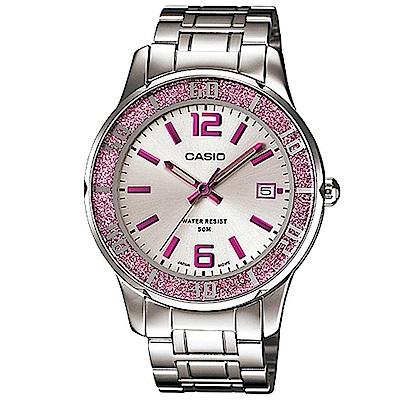 CASIO 簡約風采閃亮時尚日曆指針腕錶(LTP-1359D-4)銀白X粉紅時刻37mm