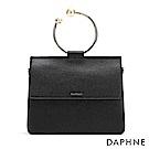 達芙妮DAPHNE-珍珠環形手把手提側肩包-黑
