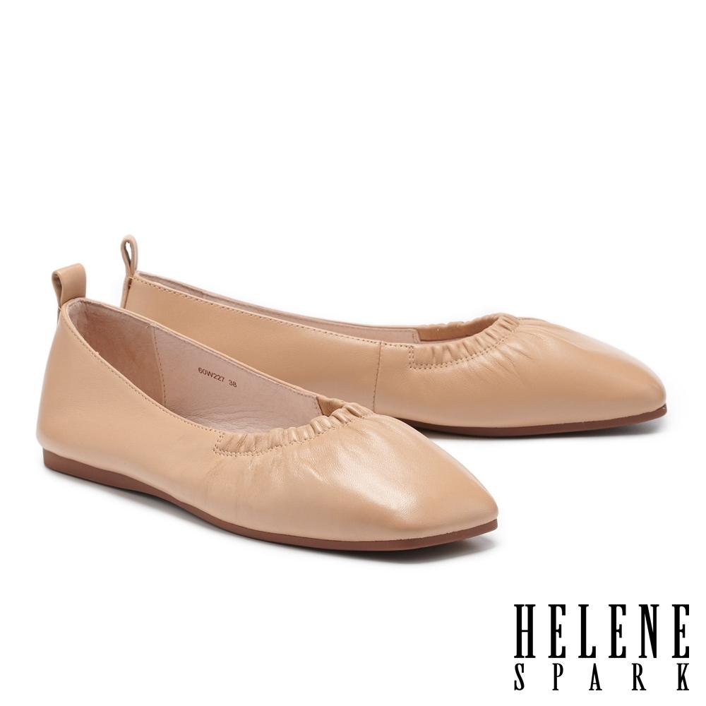 平底鞋 HELENE SPARK 極簡質感抓皺全真皮方頭平底鞋-米