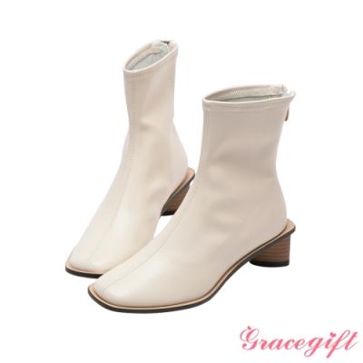 Grace gift-ETUDE leather shop-經典車線中跟短靴 白