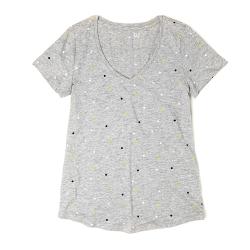 GAP 經典V領圓點素面短袖T恤(女)-灰色