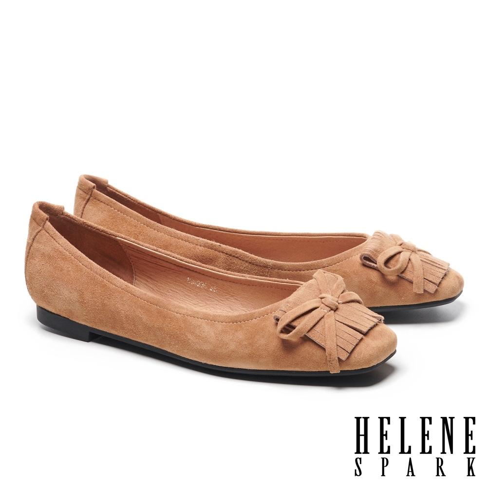 平底鞋 HELENE SPARK 氣質時尚流蘇蝴蝶結全真皮方頭平底鞋-駝