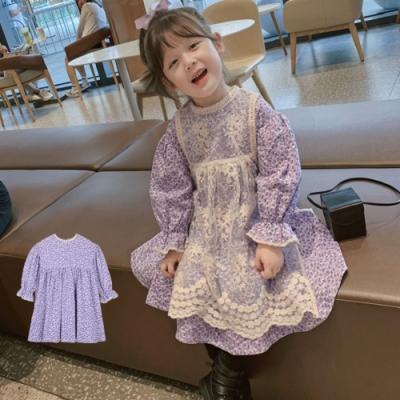 小衣衫童裝 女童田園風小碎花喇叭袖紫色連身裙洋裝1091002