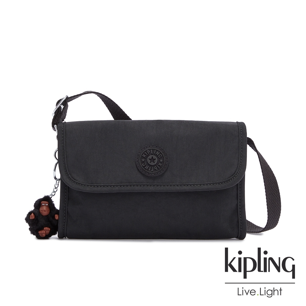 Kipling 質感黑掀蓋拉鍊肩背包-BERRY