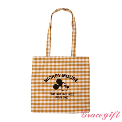Disney collection by gracegift米奇絨布壓紋托特袋 黃