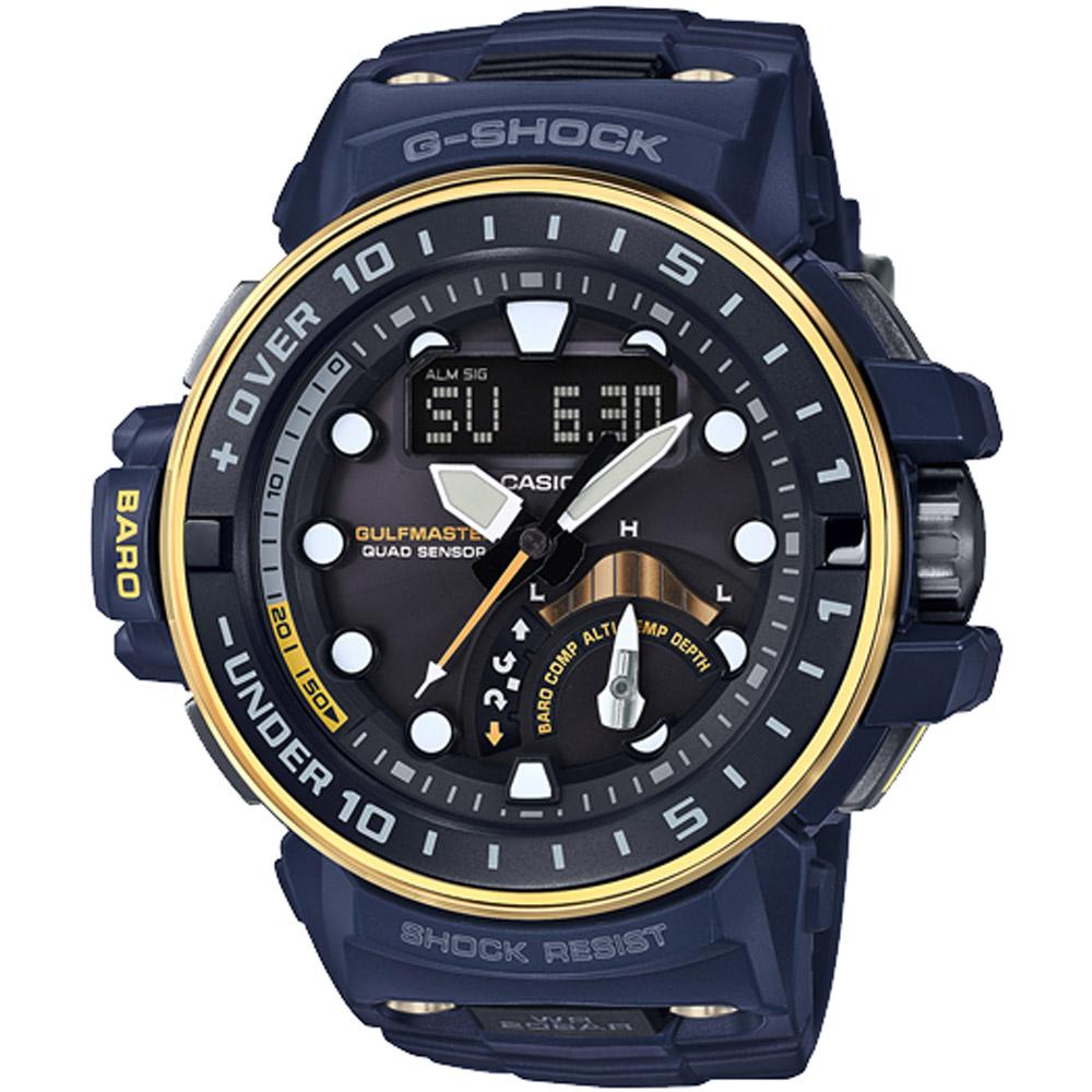 G-SHOCK 強化版海軍蛙人電波專業潛水錶(GWN-Q1000NV-2A)-57.3mm