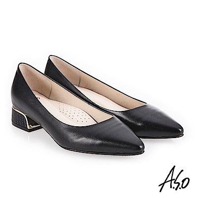 A.S.O 低調奢華 金屬邊框尖頭低跟鞋 黑