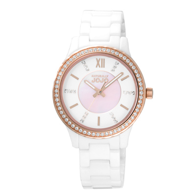 NATURALLY JOJO晶緻美好貝殼面陶瓷腕錶-粉貝(JO96933-80R)
